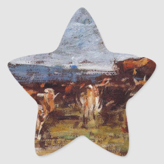 Cows in a Pasture by Eugene Boudin Star Sticker