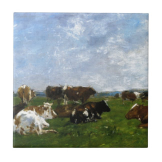 Cows in a Pasture by Eugene Boudin Tile
