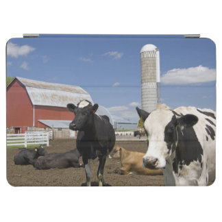 Cows in front of a red barn and silo on a farm 2 iPad air cover