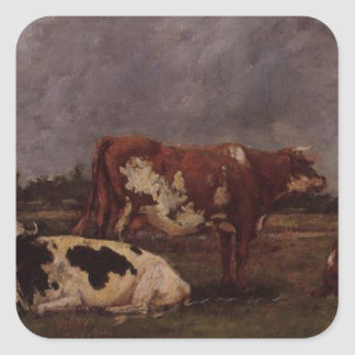 Cows in Pasture by Eugene Boudin Square Sticker