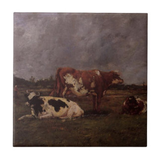 Cows in Pasture by Eugene Boudin Tile