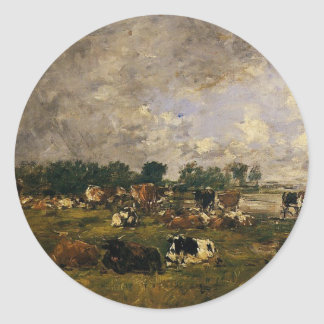 Cows in the Fields by Eugene Boudin Classic Round Sticker
