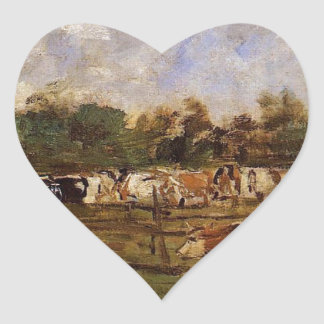 Cows in the Meadow by Eugene Boudin Heart Sticker