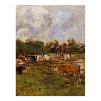Cows in the Meadow by Eugene Boudin Postcard