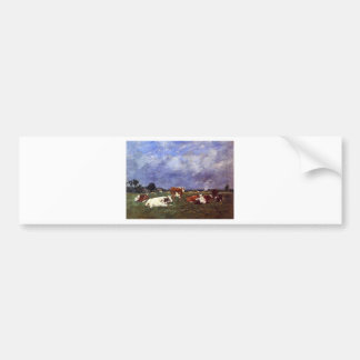 Cows in the Pasture by Eugene Boudin Bumper Sticker