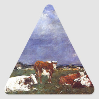 Cows in the Pasture by Eugene Boudin Triangle Sticker