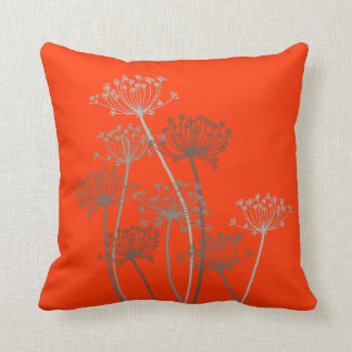 Cows parsley graphic grey brown & orange pillow throw cushion