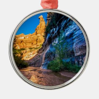 Coyote Gulch Sunrise - Utah Silver-Colored Round Decoration