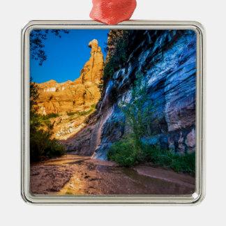 Coyote Gulch Sunrise - Utah Silver-Colored Square Decoration
