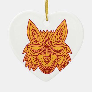 Coyote Head Sunglasses Smiling Mono Line Ceramic Heart Decoration