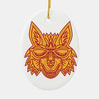 Coyote Head Sunglasses Smiling Mono Line Ceramic Oval Decoration