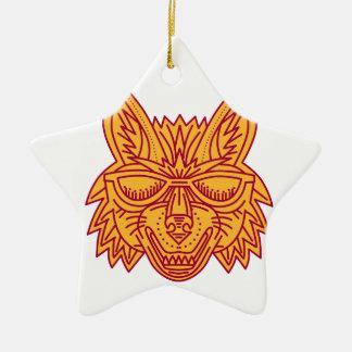 Coyote Head Sunglasses Smiling Mono Line Ceramic Star Decoration