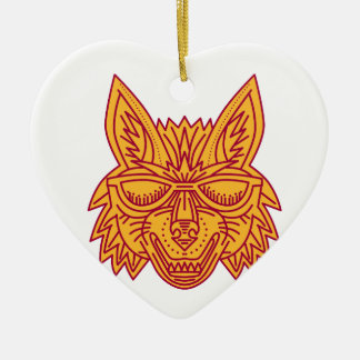 Coyote Head Sunglasses Smiling Mono Line Christmas Ornament