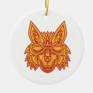 Coyote Head Sunglasses Smiling Mono Line Round Ceramic Decoration