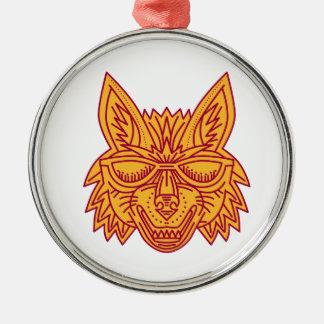 Coyote Head Sunglasses Smiling Mono Line Silver-Colored Round Decoration