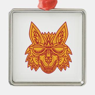 Coyote Head Sunglasses Smiling Mono Line Silver-Colored Square Decoration