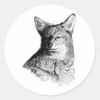 Coyote (line art) classic round sticker