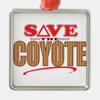 Coyote Save Silver-Colored Square Decoration