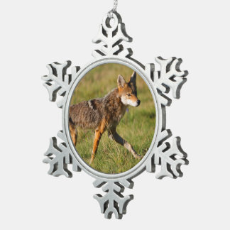 coyote snowflake pewter christmas ornament