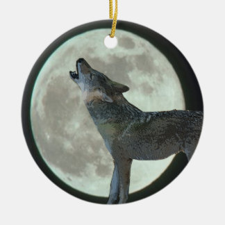 COYOTER HOWLING AT MOON ORNAMENT