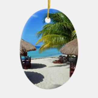 Cozumel Mexico Beach Hut Palm Tree Teal Water Vaca Christmas Ornament