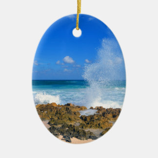 Cozumel Mexico Beach Wave Splash Water Spout Teal Christmas Ornament