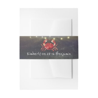 Crab and Tropical Beach Lights Invitation Belly Band