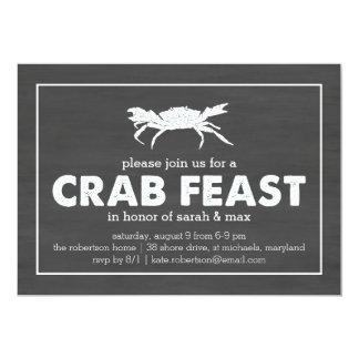 Crab Feast Black & White Chalkboard 13 Cm X 18 Cm Invitation Card