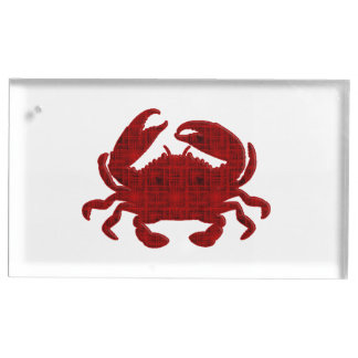 Crab - red grunge place card holder
