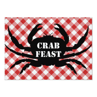 "Crab Silo on Red & White Checked Cloth Crab Feast 5"" X 7"" Invitation Card"