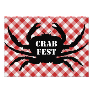 Crab Silo on Red White Checked Cloth Crab Fest Custom Invitations
