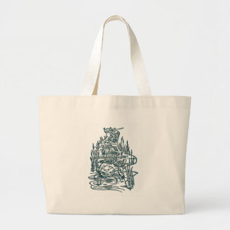 Crabs, Salmon and Whitebait in Stream Large Tote Bag