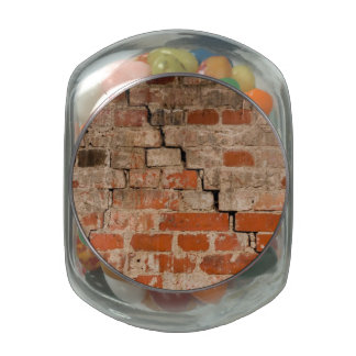 Cracked brick wall jelly belly candy jar