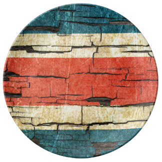 Cracked Costa Rica Flag Peeling Paint Effect Plate