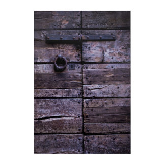 Cracked wooden door acrylic print