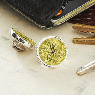 Crackled Glass Birthstone November Yellow Citrine Lapel Pin