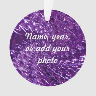 Crackled Glass Swirl Design - Purple Amethyst Ornament