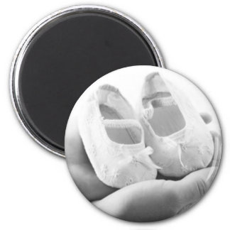 Cradled Baby Shoes 6 Cm Round Magnet