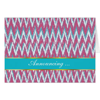 Cranberry and Teal iKat ZigZag Pattern Card