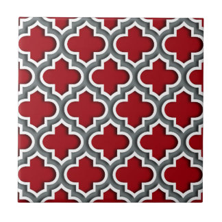 Cranberry Charcoal White Moroccan Quatrefoil #5DS Small Square Tile