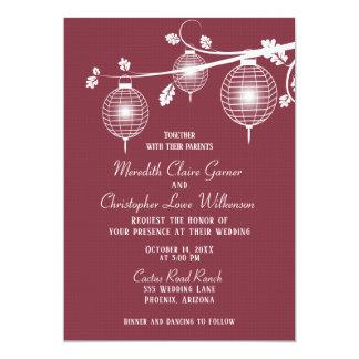 Cranberry Red Paper Lanterns Wedding Invitation