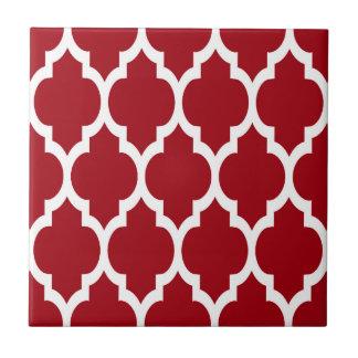Cranberry Red White Moroccan Quatrefoil Pattern #4 Small Square Tile