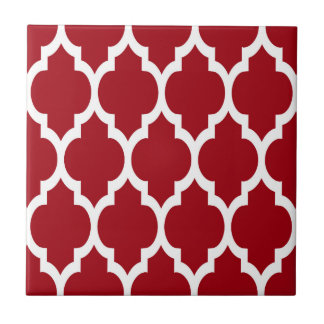 Cranberry Red White Moroccan Quatrefoil Pattern #4 Tile
