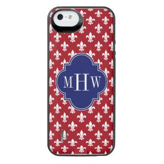Cranberry Wht Fleur de Lis Navy 3 Initial Monogram iPhone SE/5/5s Battery Case