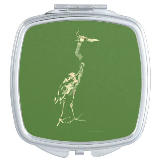 Crane on Green Compact Makeup Mirrors