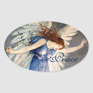 Crane's Angel of Peace Christmas Oval Sticker