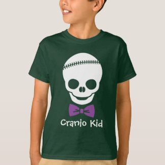 Cranio Kid Boy Skull with Purple Bowtie T-Shirt