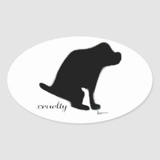 """""""Crapping on Cruelty"""" Oval Sticker"""
