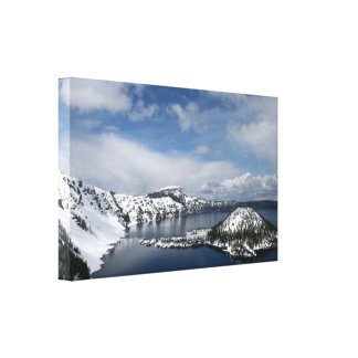 Crater Lake and Wizard Island Gallery Wrap Canvas