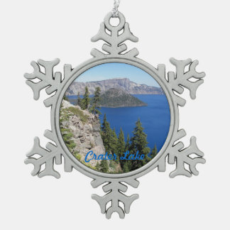 Crater Lake National Park Photo Pewter Snowflake Decoration